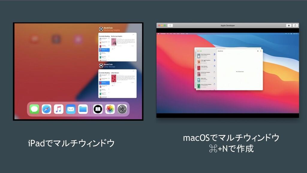 iPadでマルチウィンドウ macOSでマルチウィンドウ ⌘+Nで作成