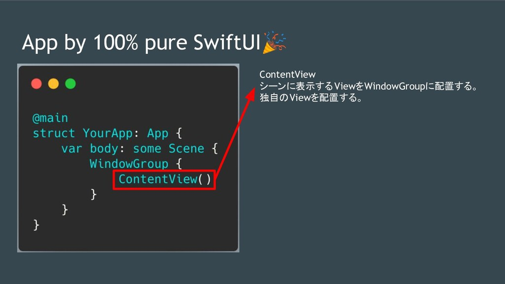 App by 100% pure SwiftUI ContentView シーンに表示するVi...