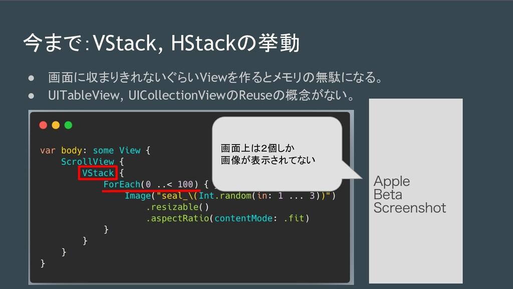 今まで:VStack, HStackの挙動 ● 画面に収まりきれないぐらいViewを作るとメモ...