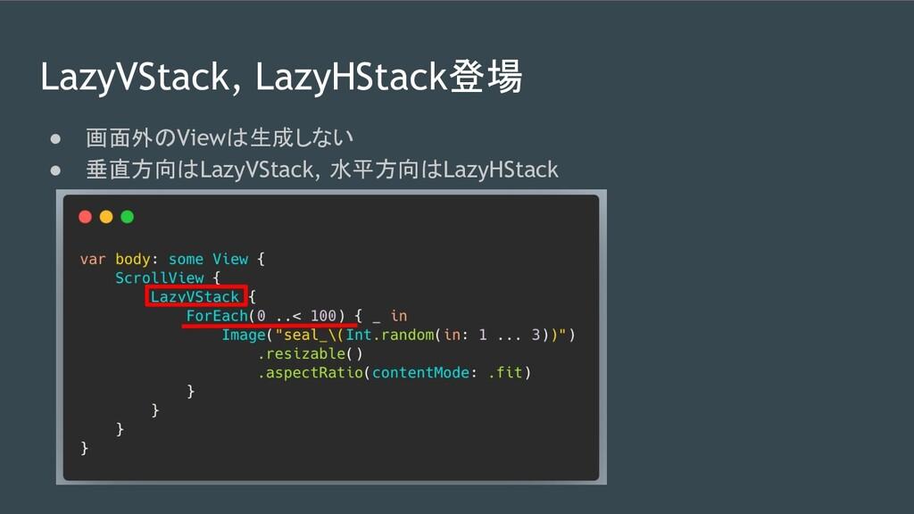 LazyVStack, LazyHStack登場 ● 画面外のViewは生成しない ● 垂直方...