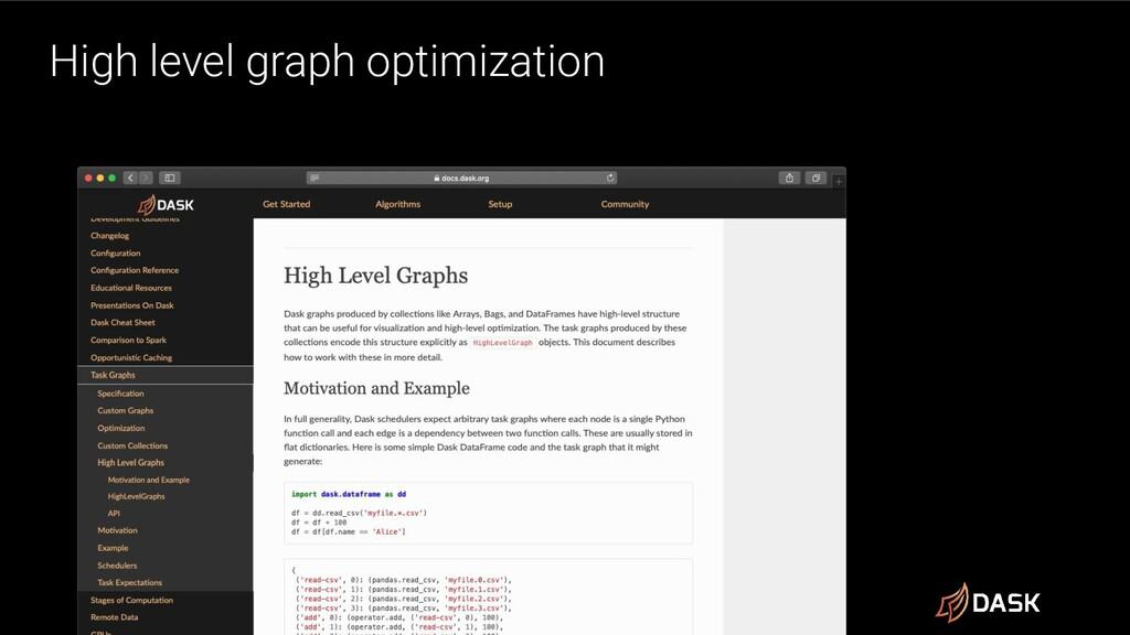 High level graph optimization
