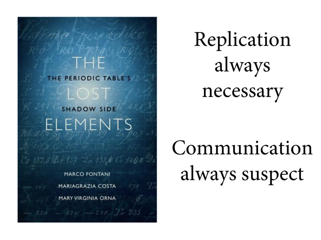 Replication always necessary Communication alwa...
