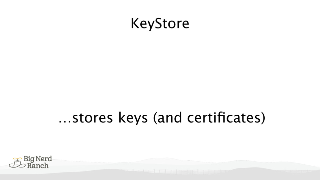 KeyStore …stores keys (and certificates)
