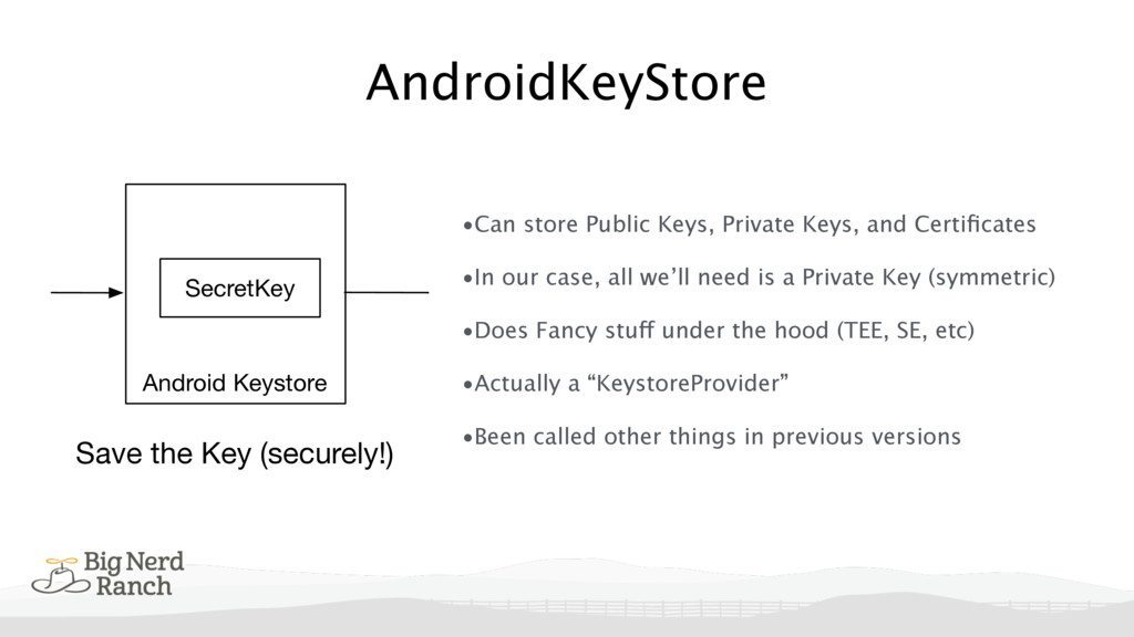 AndroidKeyStore •Can store Public Keys, Private...
