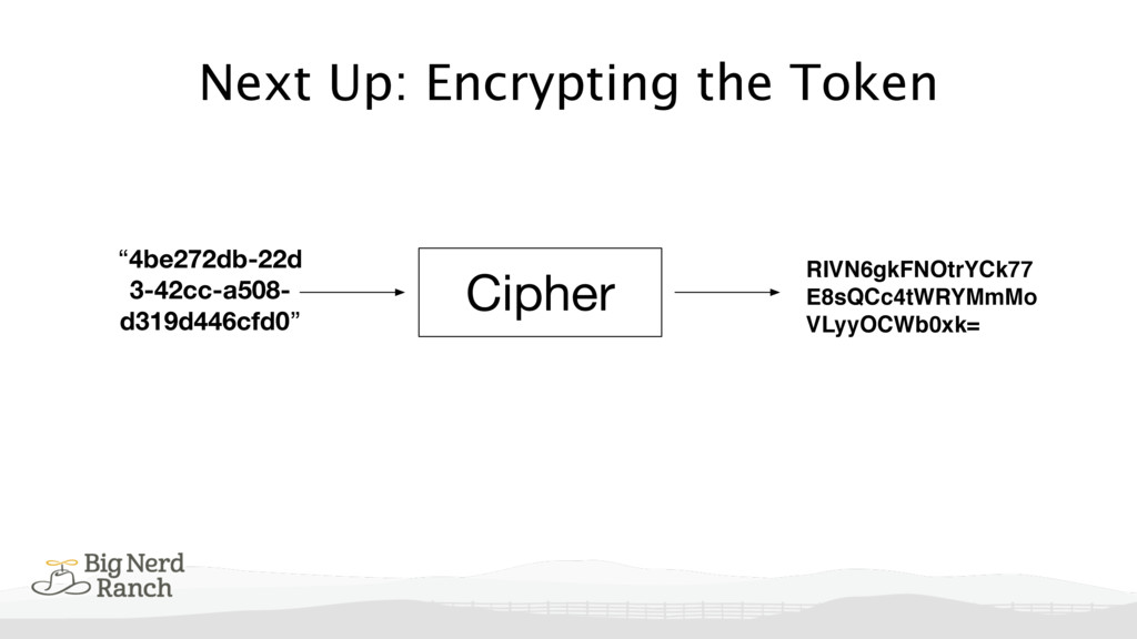 """Next Up: Encrypting the Token """"4be272db-22d 3-4..."""