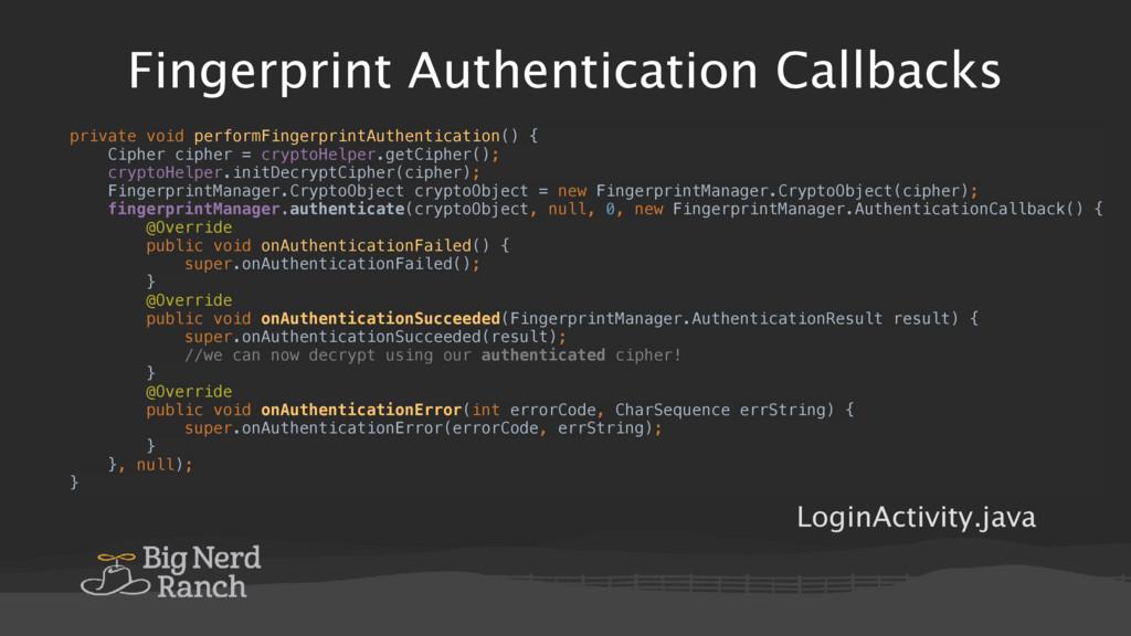 Fingerprint Authentication Callbacks private vo...