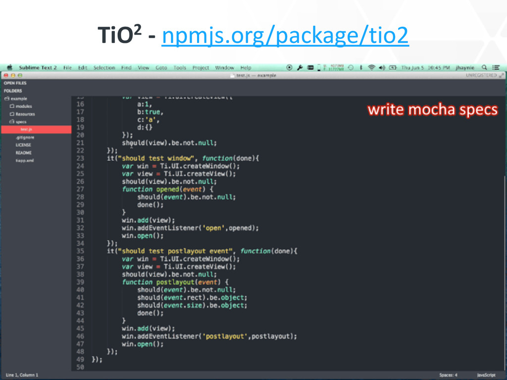 TiO2 -‐ npmjs.org/package/tio2
