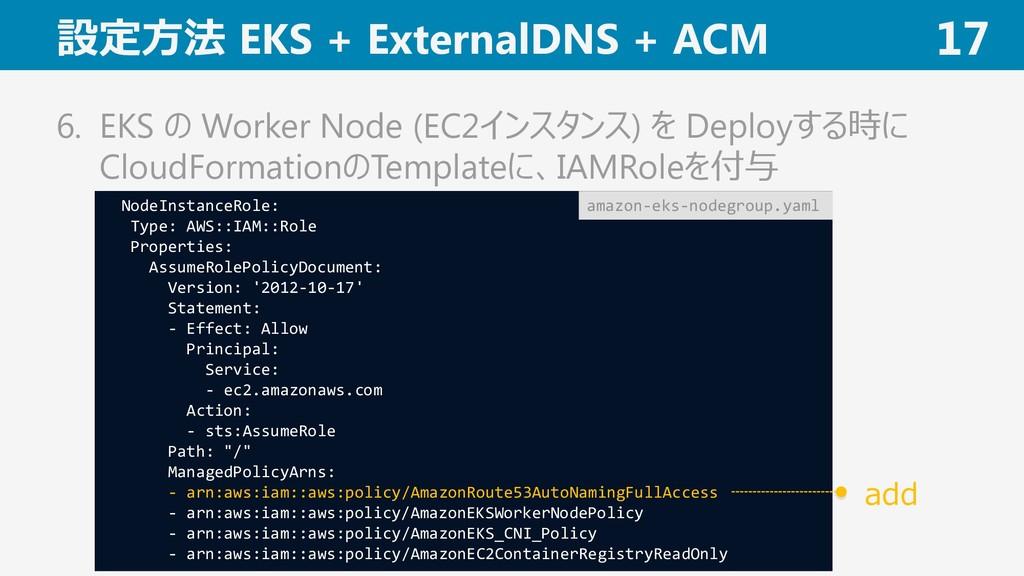 設定方法 EKS + ExternalDNS + ACM 17 6. EKS の Worker...