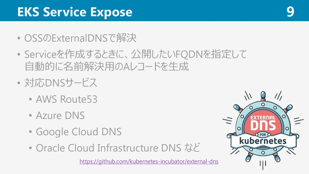 EKS Service Expose 9 • OSSのExternalDNSで解決 • Ser...