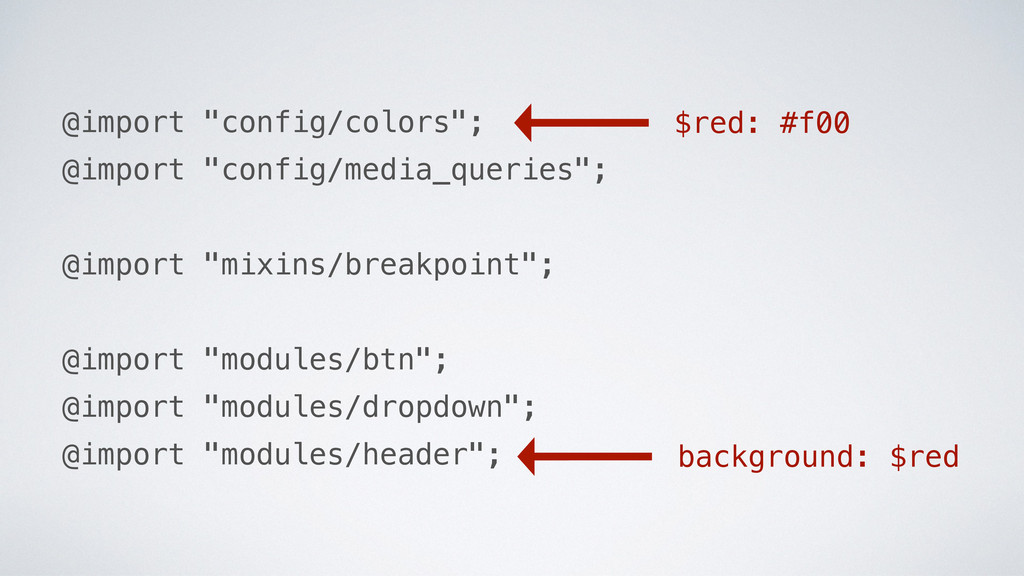"""background: $red @import """"config/colors""""; @impo..."""