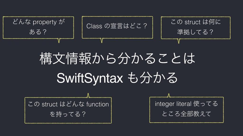 ߏจใ͔Β͔Δ͜ͱ SwiftSyntax ͔Δ ͲΜͳ property ͕ ͋...