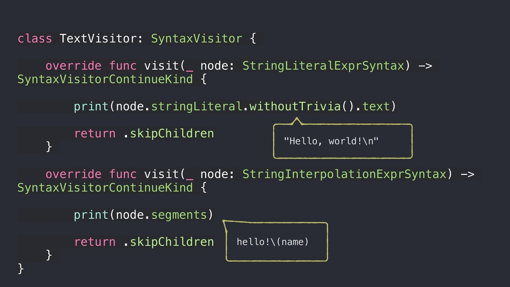 class TextVisitor: SyntaxVisitor { override fun...