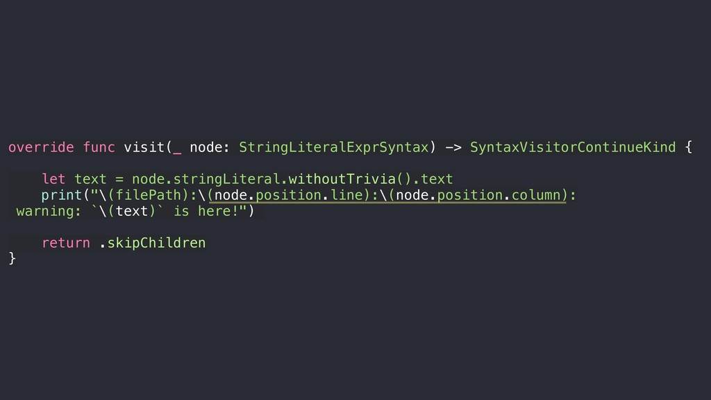 override func visit(_ node: StringLiteralExprSy...