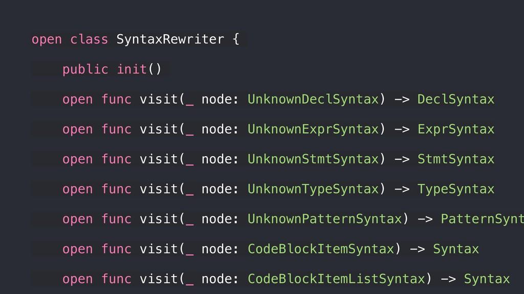 open class SyntaxRewriter { public init() open ...