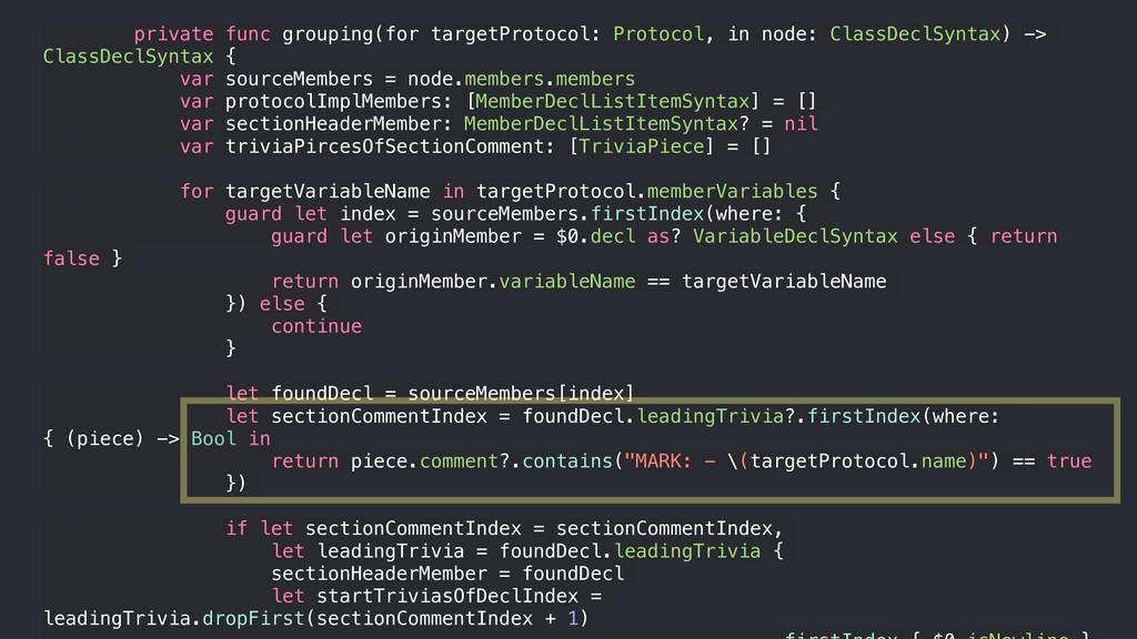 private func grouping(for targetProtocol: Proto...