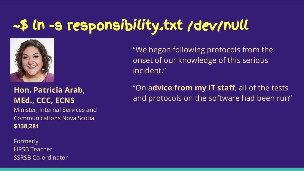 "~$ ln -s responsibility.txt /dev/null ""We began..."