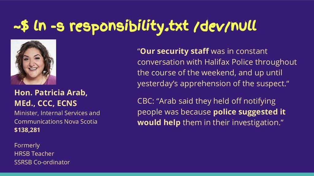 "~$ ln -s responsibility.txt /dev/null ""Our secu..."