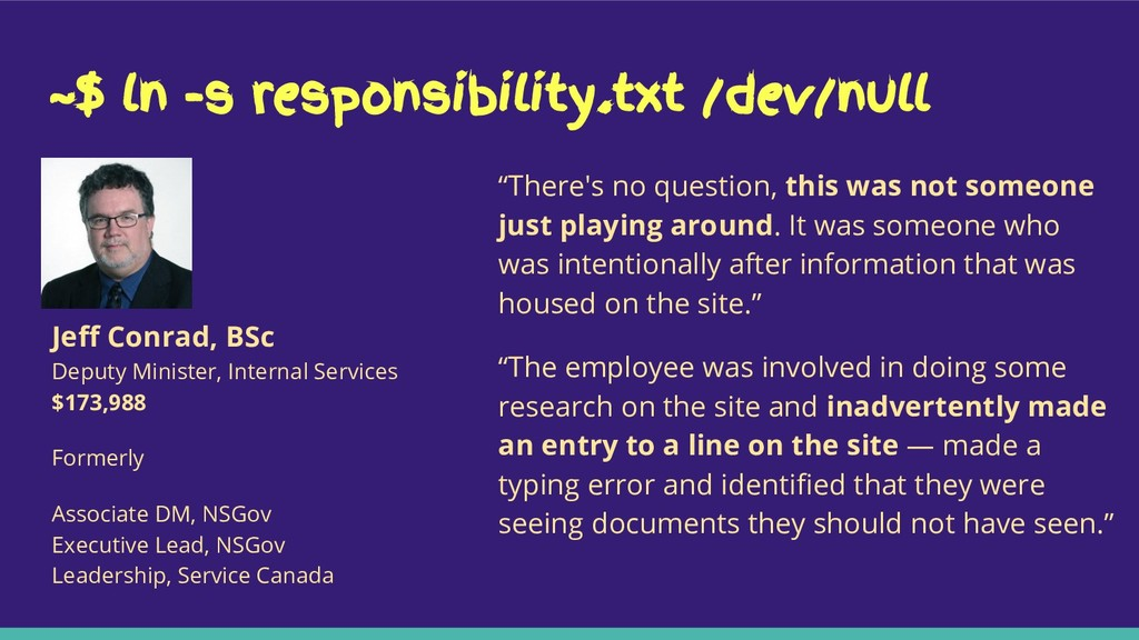 """~$ ln -s responsibility.txt /dev/null """"There's ..."""