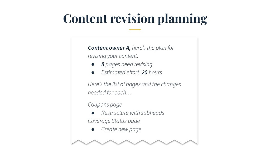 Content revision planning Content owner A, here...
