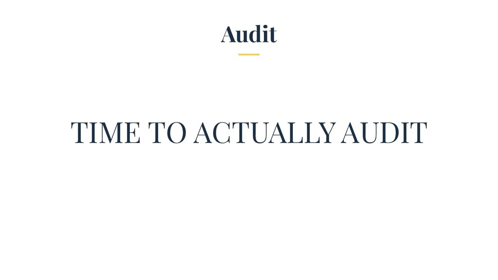 Audit TIME TO ACTUALLY AUDIT