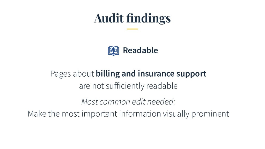 Audit findings Pages about billing and insurance...