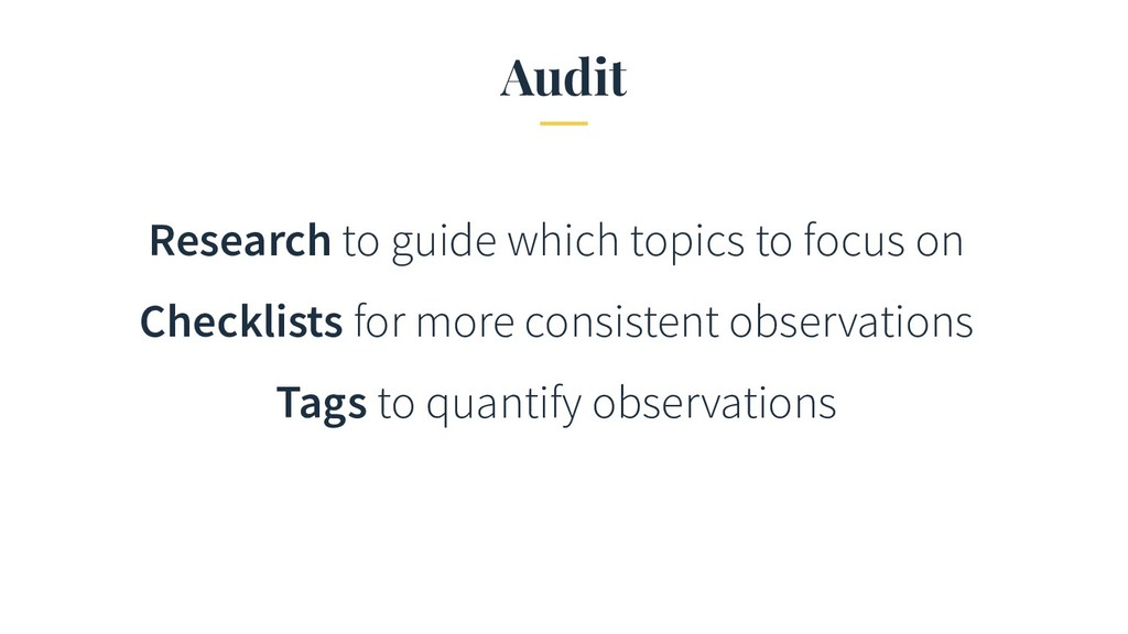 Audit Research to guide which topics to focus o...