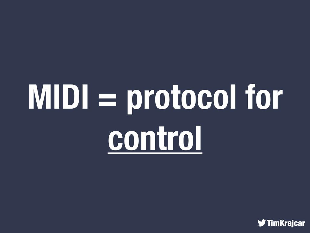 TimKrajcar MIDI = protocol for control