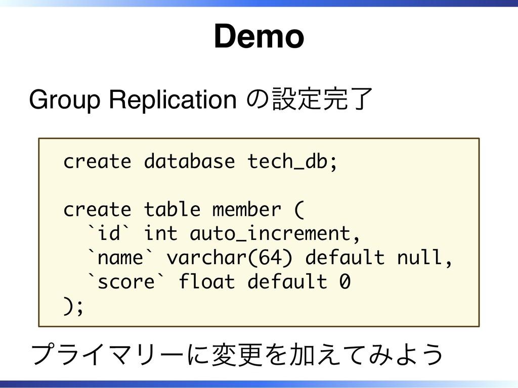 Demo Group Replication の設定完了 create database te...