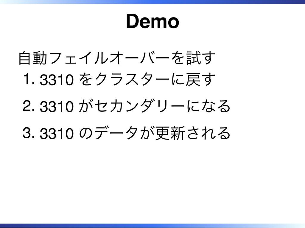 Demo 自動フェイルオーバーを試す 3310 をクラスターに戻す 1. 3310 がセカンダ...