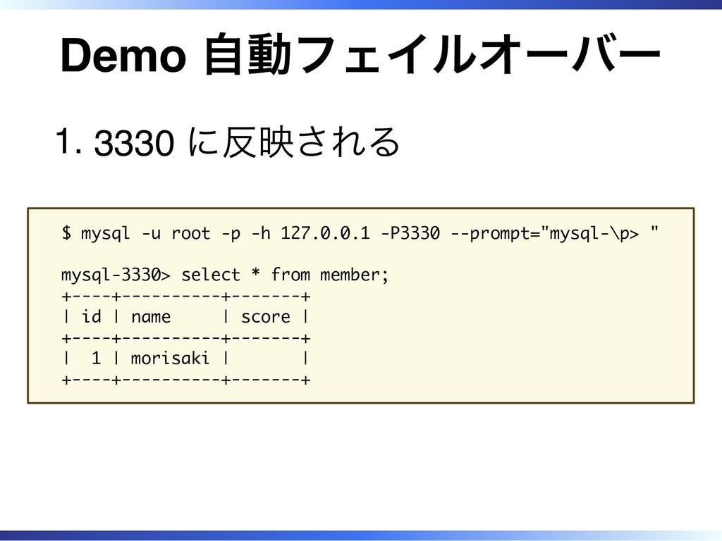 Demo 自動フェイルオーバー 3330 に反映される 1. $ mysql -u root ...