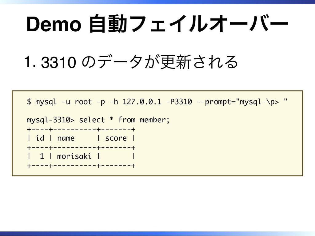 Demo 自動フェイルオーバー 3310 のデータが更新される 1. $ mysql -u r...