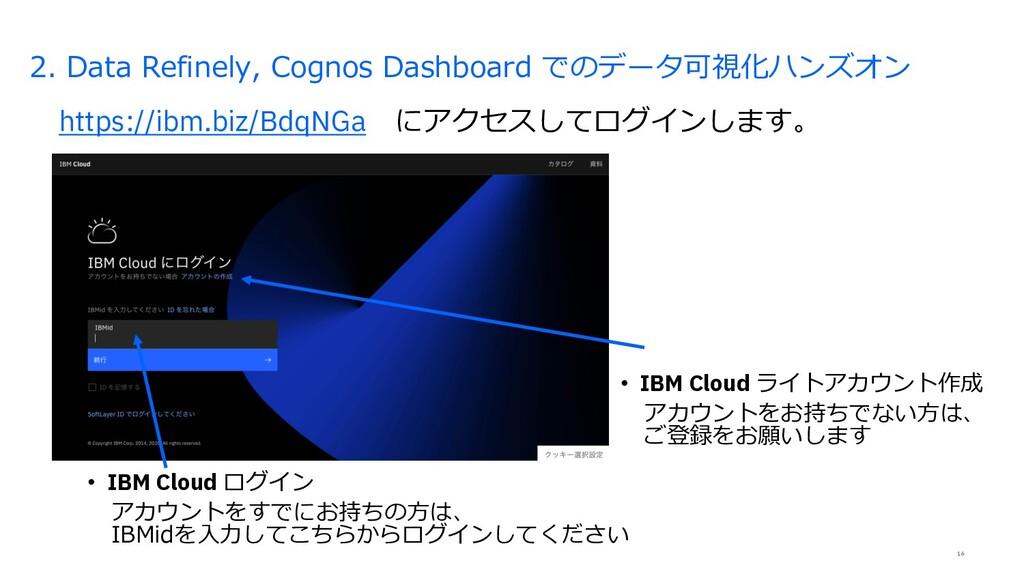 16 2. Data Refinely, Cognos Dashboard でのデータ可視化ハ...