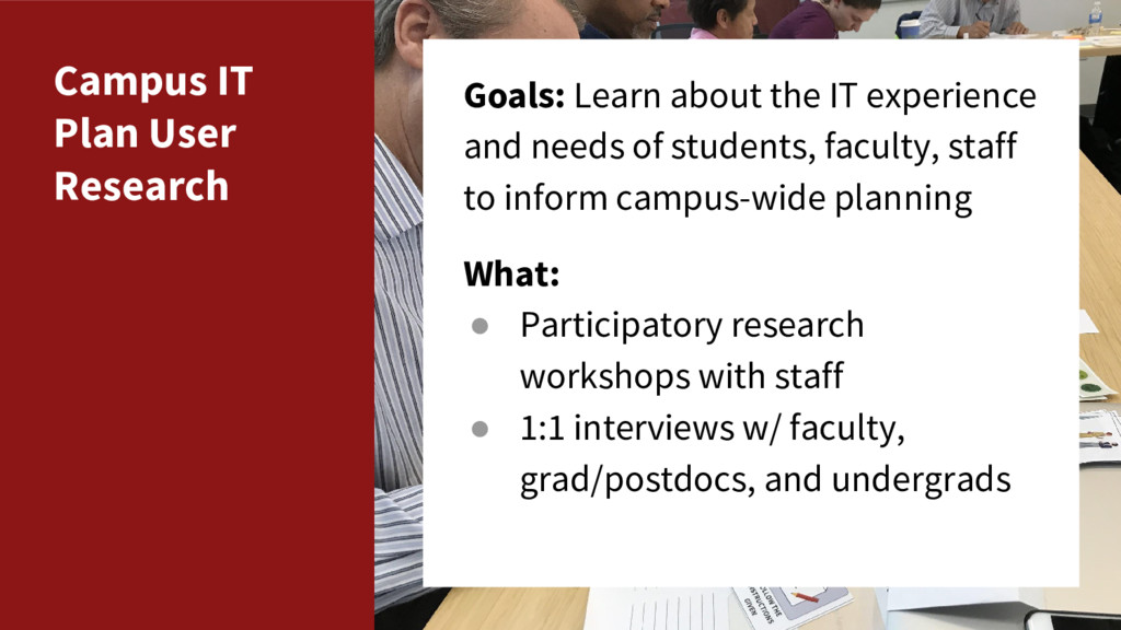 Campus IT Plan User Research Goals: Learn about...