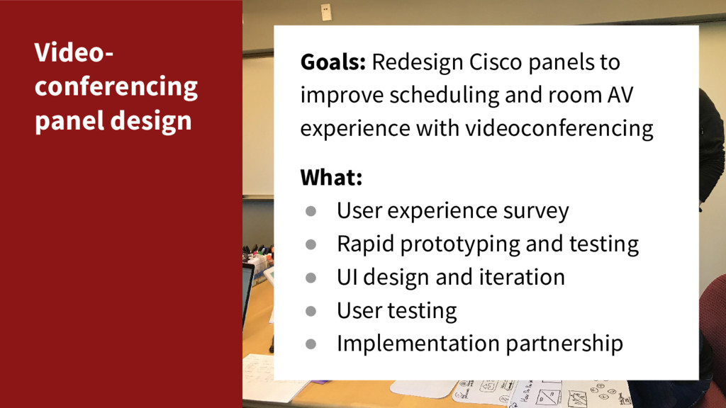 Video- conferencing panel design Goals: Redesig...