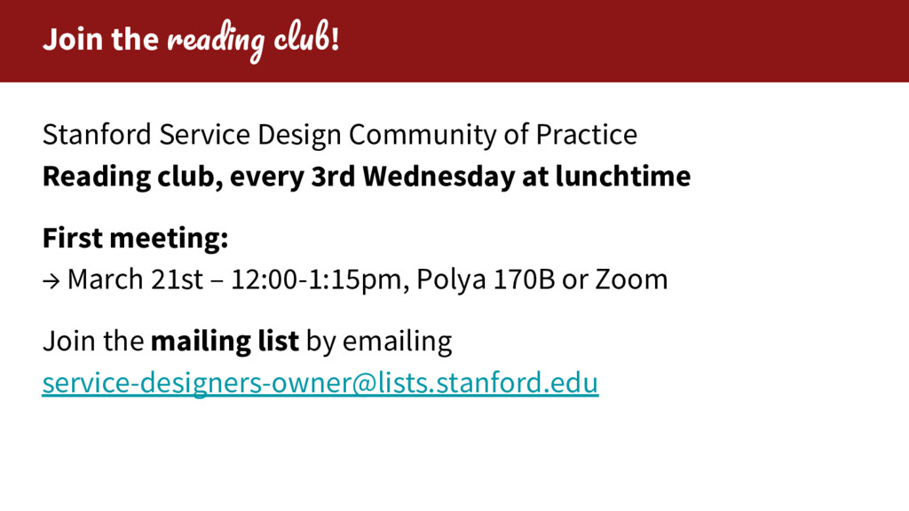 Join the ! Stanford Service Design Community of...