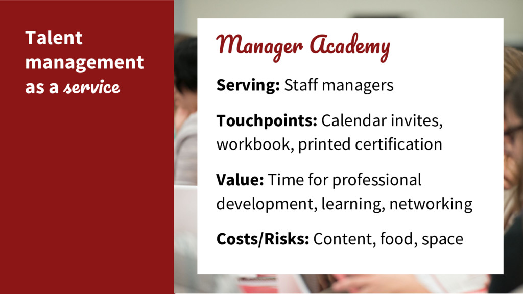 Talent management as a M A Serving: Staff manag...