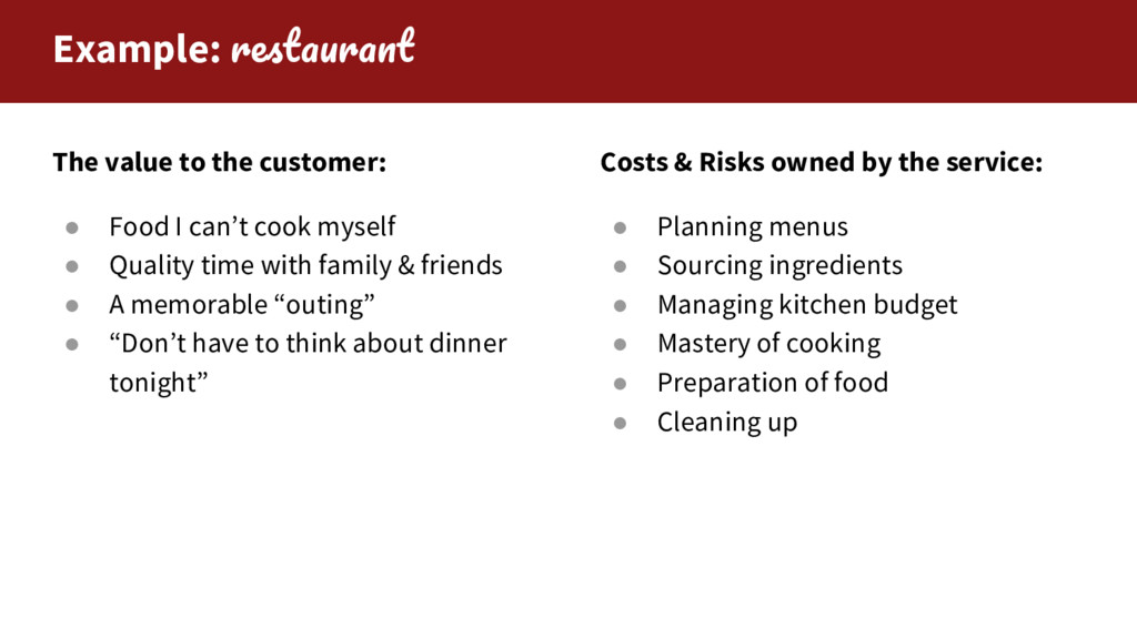 Example: The value to the customer: ● Food I ca...