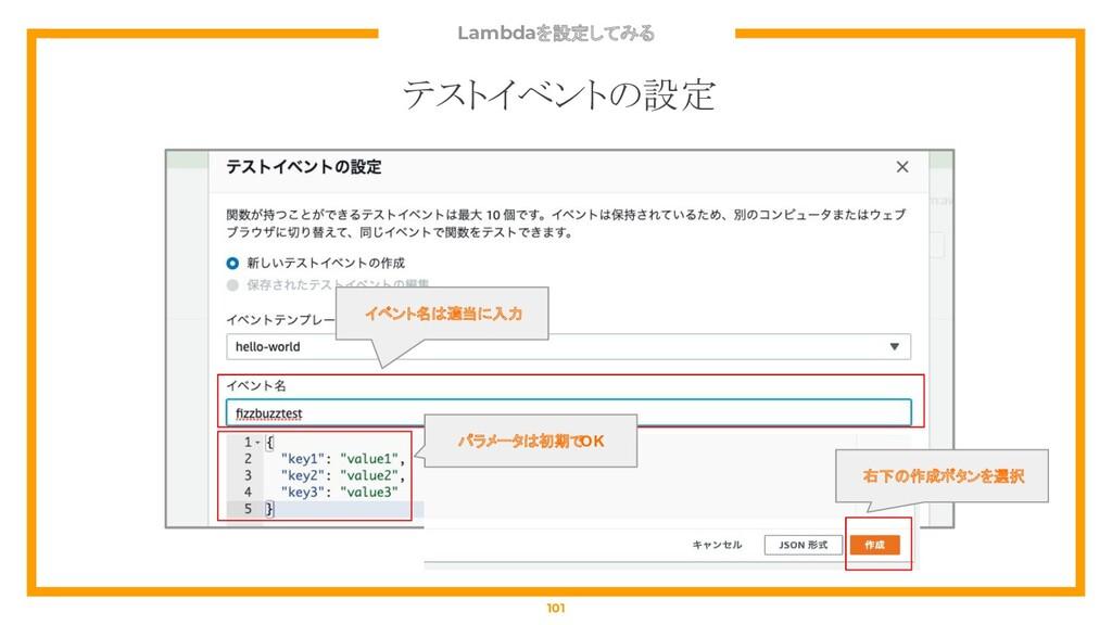 Lambdaを設定してみる 101 テストイベントの設定 イベント名は適当に入力 パラメータは...