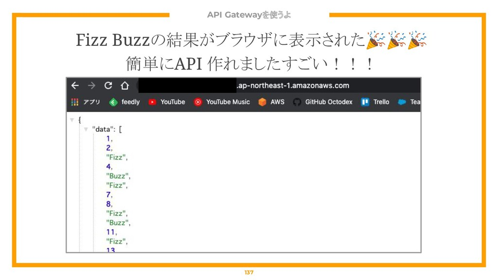 API Gatewayを使うよ 137 Fizz Buzzの結果がブラウザに表示された 簡単に...