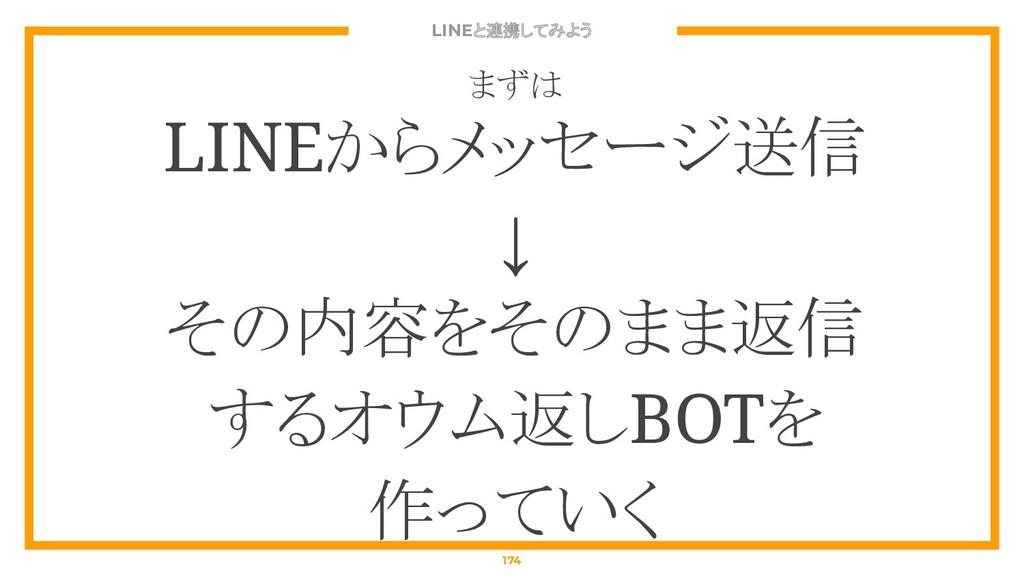 LINEと連携してみよう 174 まずは LINEからメッセージ送信 ↓ その内容をそのまま返...