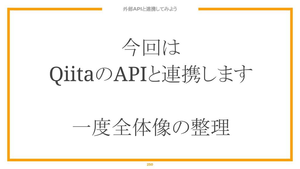 外部APIと連携してみよう 250 今回は QiitaのAPIと連携します 一度全体像の整理