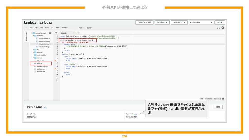 外部APIと連携してみよう 256 API Gateway 経由でキックされたあと、 ${ファ...