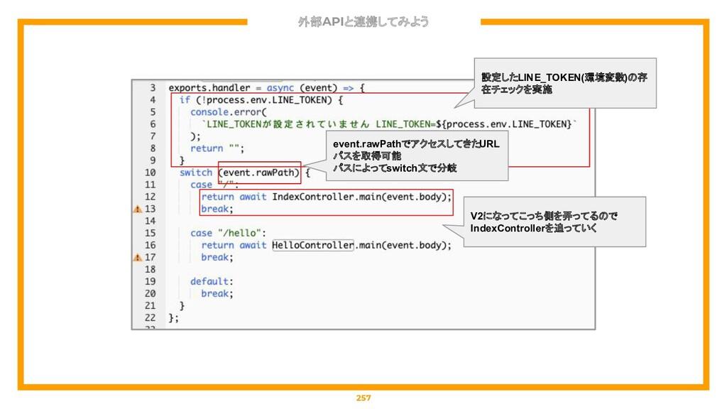 外部APIと連携してみよう 257 設定したLINE_TOKEN(環境変数)の存 在チェックを...