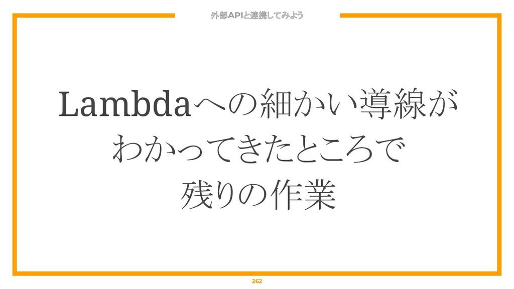 外部APIと連携してみよう 262 Lambdaへの細かい導線が わかってきたところで 残りの...