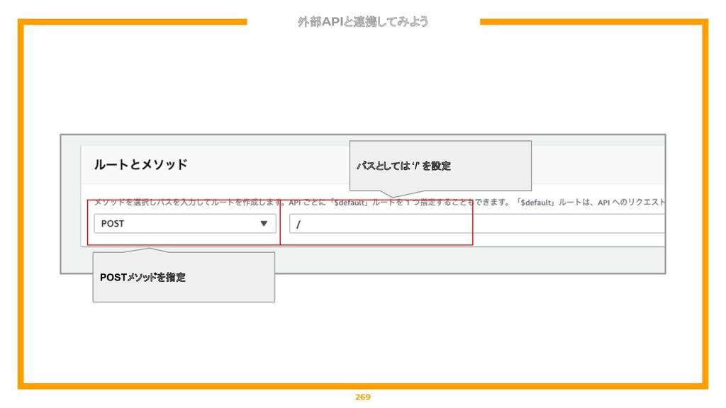 外部APIと連携してみよう 269 パスとしては '/' を設定 POSTメソッドを指定