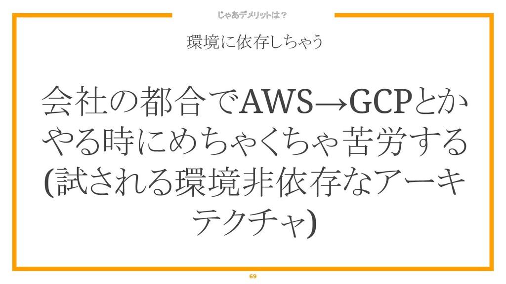 じゃあデメリットは? 69 環境に依存しちゃう 会社の都合でAWS→GCPとか やる時にめちゃ...