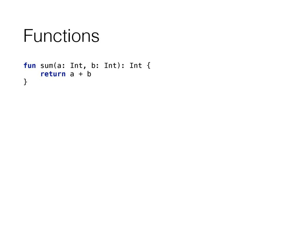 Functions fun sum(a: Int, b: Int): Int { retur...