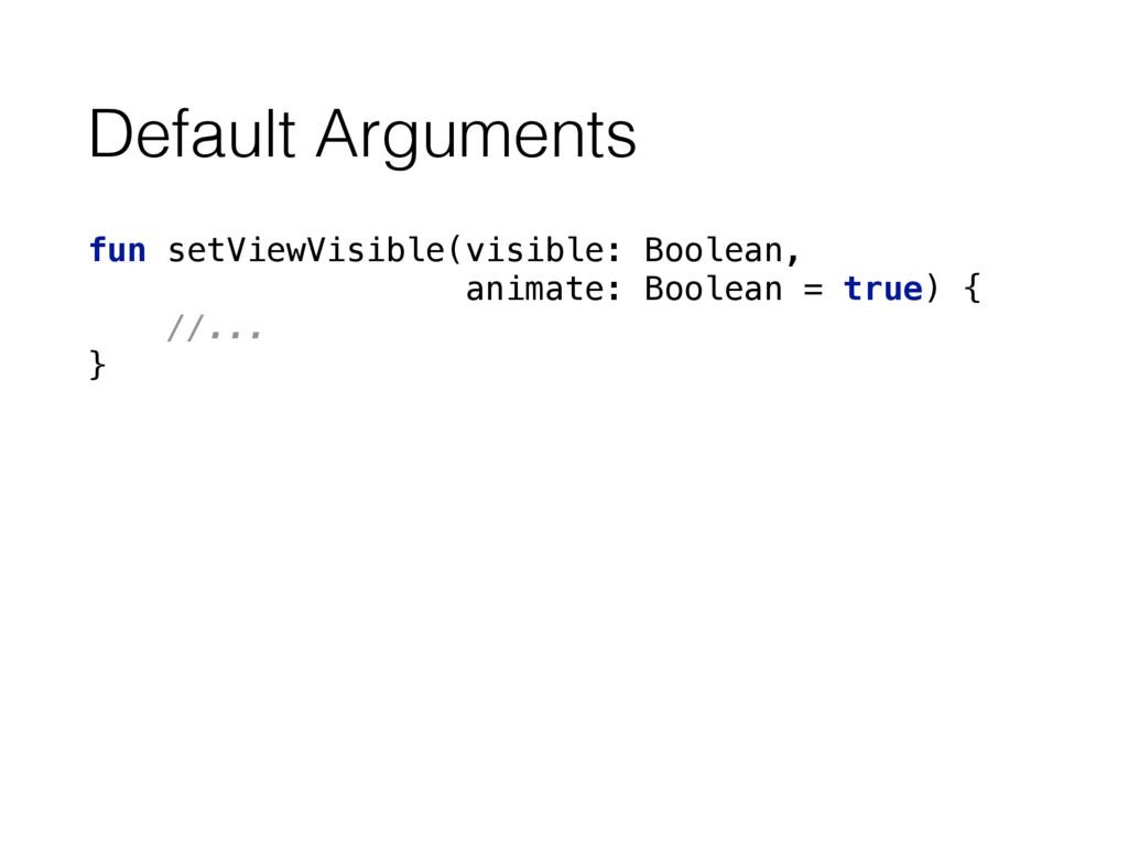 Default Arguments fun setViewVisible(visible: B...