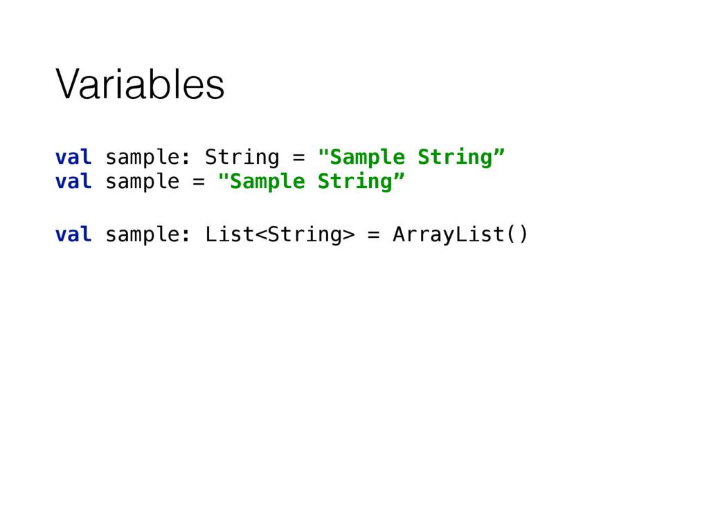 "Variables val sample: String = ""Sample String""..."