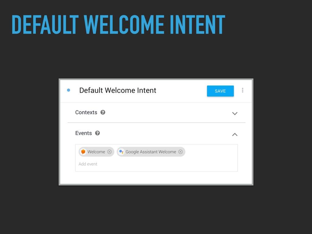 DEFAULT WELCOME INTENT